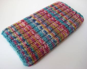 wool iPhone 6 sock cosy - hand knitted phone cosy - mobile phone sock - cellphone sock - knitted phone sock - phone cosy - pink cosy