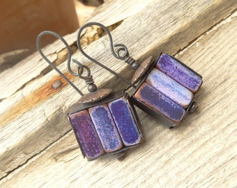 RESERVED!!!!Rustic Ceramic Tube Purple Rustic Copper Earrings