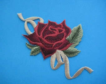 Iron-On embroidered Patch Red Rose 3.5 inch