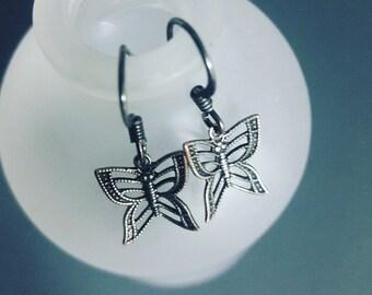 Ox Silver Butterfly Earrings