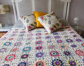 Crochet pattern : Batik Flower Blanket