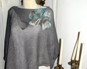 Linen poncho , asymmetric,  natural LINEN, eCO FRIENDLY,blue,  one size fits all.