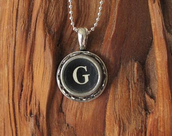 The Letter G Vintage Typewriter key pendant necklace