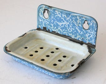 Blue Swirl Granite Ware Enamel Ware Vintage Soap Dish