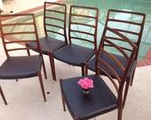 DANISH MID CENTURY CHAIRs / Niels O. Møller for J.L. Møllers Teak Chairs / set of 5 Danish Chairs /  Teak Chairs / Model 82 Retro Daisy Girl