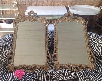 PAIR ROCOCO MIRRORS / 4 Ft Tall / Pair of Large Rococo Mirrors / Paris Apt Bombay Mirrors / Gold Resin / Paris Apt style at Retro Daisy Girl