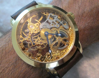 Steampunk Skeleton Leather Band Watch Mechanical Mens Mechanical wristwatches Steampunk Watch Black -Wrist Watches-Men's Women's Retro Watch