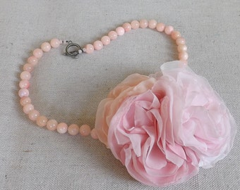 Blush Pink Beaded Necklace with Flower Trio in Shades of Pink Chiffon