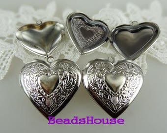 20%off LK-100-25RW  2pcs Brass Heart Shape Locket,NICKEL FREE