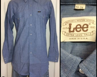 deadstock 1970's Lee Blue chambray work western snap shirt size medium X-Long Tails made in USA nos tall