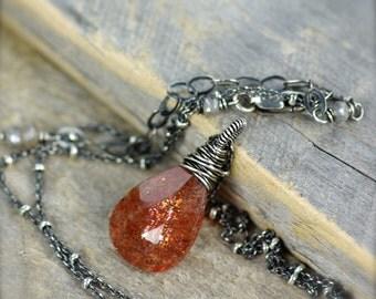 Large Sunstone Gemstone Necklace.  Orange Gemstone Necklace.  Wire Wrapped Sunstone Necklace