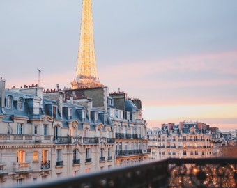 The Eiffel Tower at Sunset, View from a Parisian Balcony - Paris Travel Fine Art Photography Print