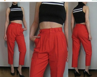 FALL SALE 80s CROPPED Cotton Tapered Vintage Cherry Red Pleated Skinny Tapered Leg High Waist Spring Summer Capri Trousers Pants xxs/xs Smal