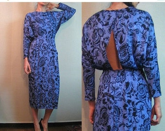 FALL SALE 80s OPEN Back Vintage Backless Violet Purple Black Floral Print Tapered Dolman Long Sleeves Rayon Midi Dress xs Small 1980s