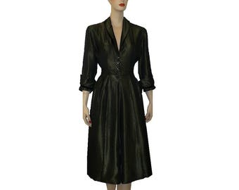 M Changeable Satin 1950's Vintage Dress, Shirtwaist Lucy Hostess Dress, Medium