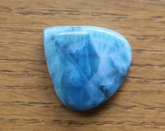 Larimar teardrop cabochon for jewelery making or collecting, aqua blue natural stone, pendant size cabochons