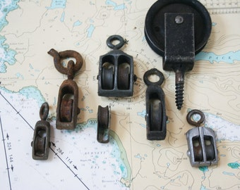Vintage Metal Pulleys  / 7 Salvaged Pieces of Industrial Hardware for Repurposing and Crafting