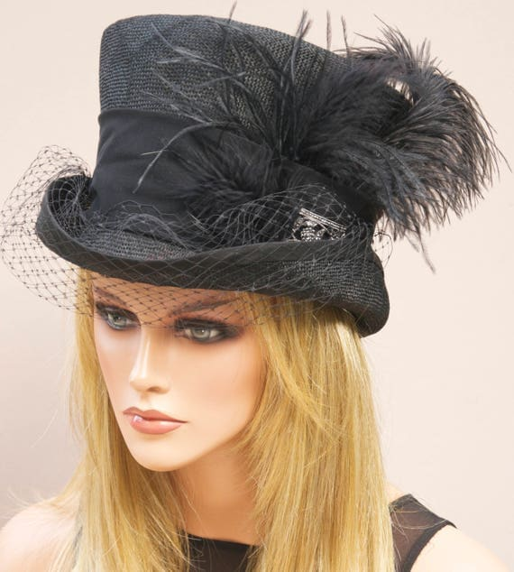 Kentucky Derby Hat Horse race hat  Woman's Black Hat, Derby Hat, Black Top Hat Mad Hatter Ascot Hat Formal Hat Ladies Black Hat Mourning Hat