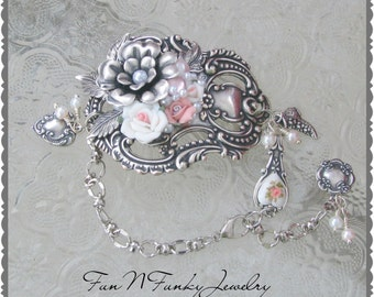 Pink with Silver brass bracelet, flowers, luggage tag