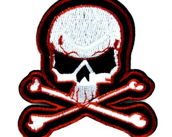 Skater Skull and Cross Bones Patch Iron on Applique Alternative Clothing Thrasher DGK - YDS-PA-31-Patch
