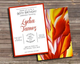 red and orange floral painting custom printable birthday invitation