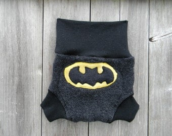 Upcycled Merino Wool Soaker Cover Diaper Cover With Added Doubler Black / Charcoal Gray With Batman Applique LARGE 12-24M Kidsgogreen