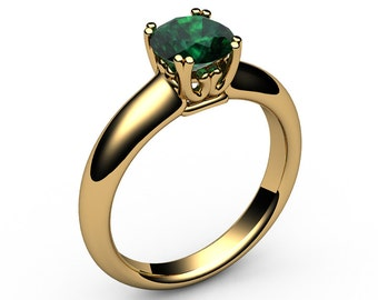 Emerald Ring Engagement Ring Solitaire Ring Chatham 14K or 18K Yellow gold May Birthstone