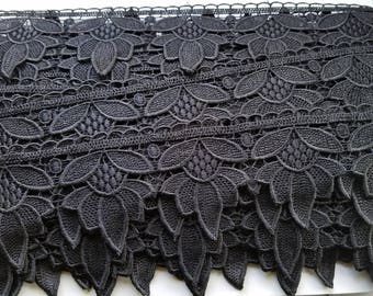 Venice lace in black flower for couture, apparel, home decor,  table cloths and embellishments 30  yards wholesale