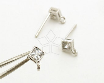 SI-784-OR / 2 Pcs - Solitaire CZ Stud Earrings, Diamond-Shaped Cz Ear Posts, Silver Plated, with 925 Sterling Silver Post / 4mm x 4mm