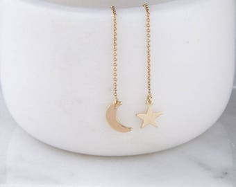 Gold Moon and Star Ear Threader, Dangling Star and Moon Earrings, Celestial Earrings, Simple Gold Earrings, Star and Moon Earrings