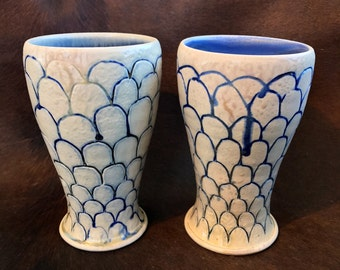 Wood Fired Tumblers, Tall Pottery Cups, Set of 2 Ceramic Pint Glasses, Blue and White Carved Pottery Tumblers with Slip Inlay.