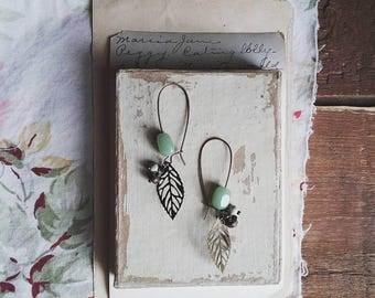 Beaded Leaf Earrings, Green Boho Dangle Earrings, Brass Filigree Earings Made With Vintage Beads