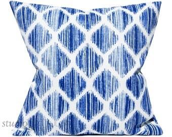 Indigo and White Pillow Cover - Outdoor Pillow Cover - 22X22 - solarium - designer pillow - throw pillow - ready to ship