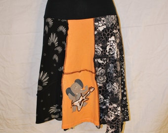 Recycled tee shirt skirt  with yoga pant style waistband size large