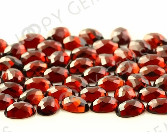 Almandine Garnet Honeycomb Faceted Oval Cabochon 7x5mm - 1 cab