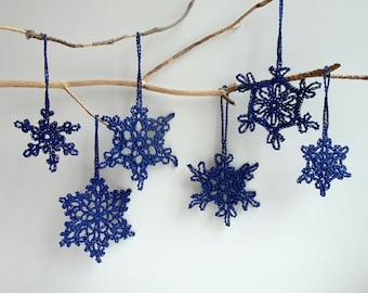 Navy blue Christmas decorations - crochet snowflakes ornaments - Christmas tree ornaments - handmade Christmas tree decorations - set of 6