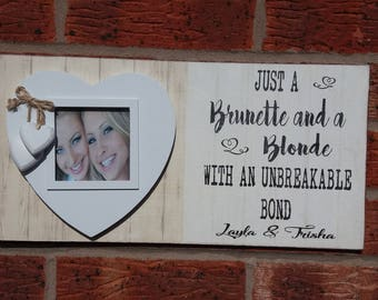 Best Friends picture frame brunette blonde photo frame personalized  16x8 inch