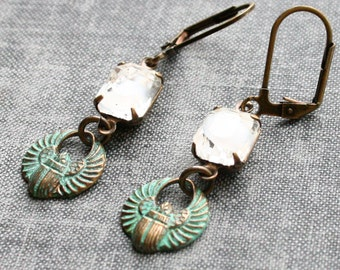 Scarab Earrings, Verdigris Patina Earings. Patina Earrings, Egyptian Beetle Earrings, Scarab Jewellery, Green Patina Jewelry