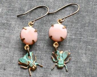 Fly Earrings, Verdigris Patina Earings. Patina Earrings, Bug Earrings, Bug Jewellery, Green Patina Jewelry, Insect Earrings