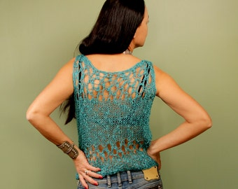 Cropped Top, Turquoise Blue Knit Top, Tank Top, Loose Top, Sleeveless Top, Linen & Cotton Summer Top, Tops and Tees, Layer Top, Knit Sweater