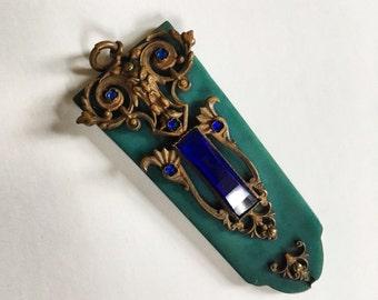Art Deco Art Nouveau Pendant Filigree Necklace Green