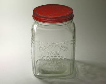 Vintage Batteron Coffee Jar with Original Lid. 3 lb. Coffee Jar - circa 1930's