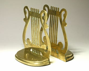 Vintage Brass Lyre Bookends, Harp Bookends - circa 1980's