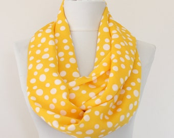 Polka dot scarf  yellow infinity scarf spring summer accessories women fashion scarves retro style gift for her