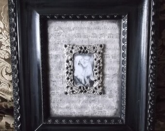 Madonna and Child Wall decor, Ebony, black and white, Shabby Romantic, repurposed vintage