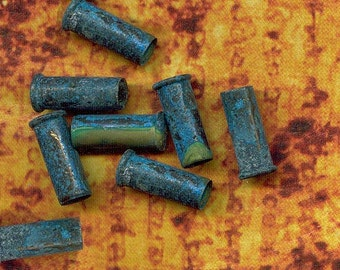 Closeout SALE - 5 -  22 caliber Brass Bullet Shell Casings - Side DRILLED -Verdigris Green Patina for bead caps, steampunk- 5-22-GPD