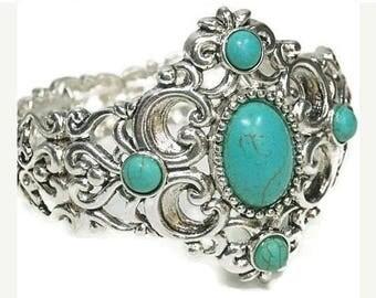 Sale| Filigree Turquoise Bangle Bracelet - Stretch Bracelet - Chunky - Turquoise Focal - Southwest - Cowgirl - Boho - Wide Bracelet - Wester