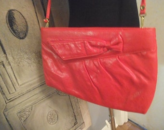 Vintage RED  Clutch shoulder Purse ~ 50s red leather with sash ~ Day to night