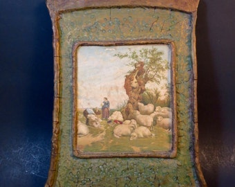 Arts & Crafts Picture Sheep Shearing Picture Contoured Frame 19th Century Print Green Gold Paper Mache Frame ca. 1900's 8 x 12 in.