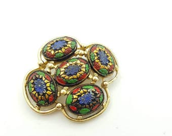 Sarah Coventry Light of the East  Brooch Colorful Mosaic Art Glass